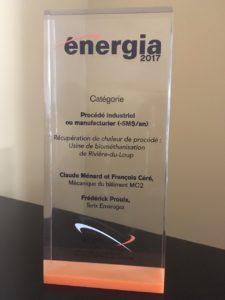 vainqueur au Concours Énergia de l'AQME
